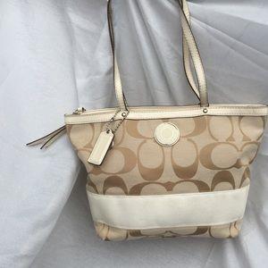 Coach signature khaki and ivory bag